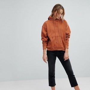 Weekday fleece hoodie burnt orange XS